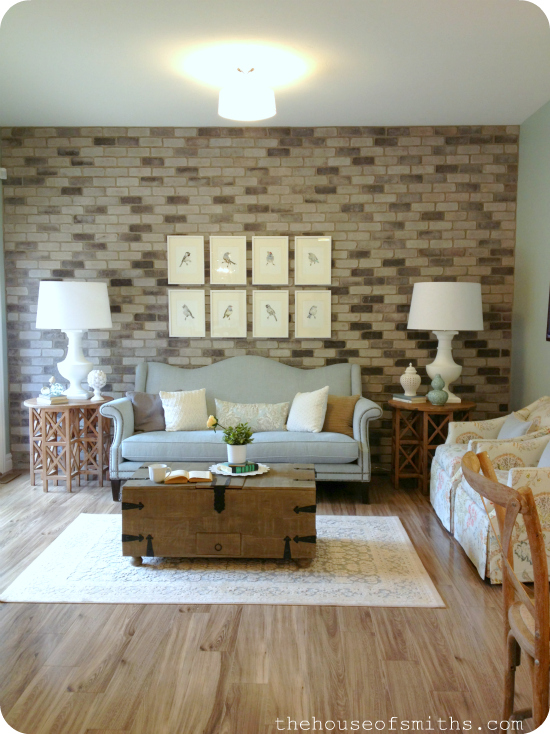 interior brick in home - accent wall idea with brick - living room with brick wall