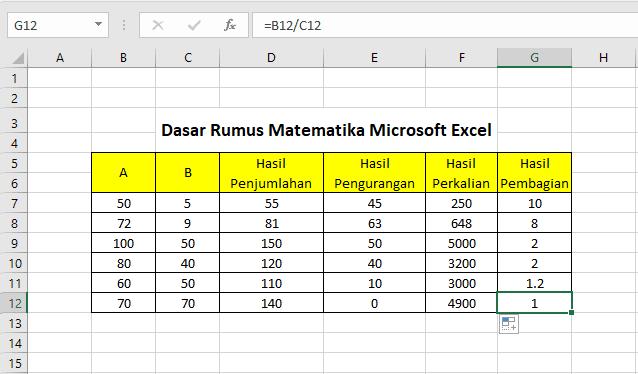 hasil dari perhitungan rumus dasar matematika