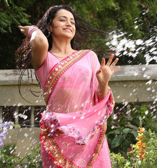Trisha Krishnan in wet transparent saree