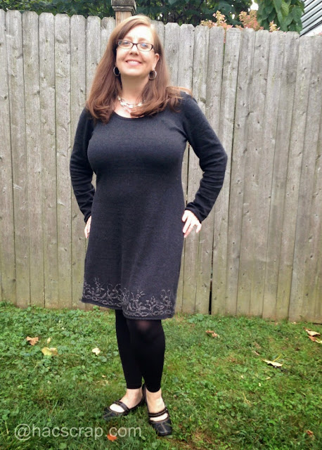 Grey Wool Aventura Dress. Paired iwth boots or with leggings.