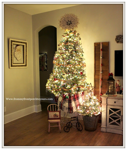 Vintage Inspired Farmhouse Christmas Tree-Tinsel- From My Front Porch To Yours