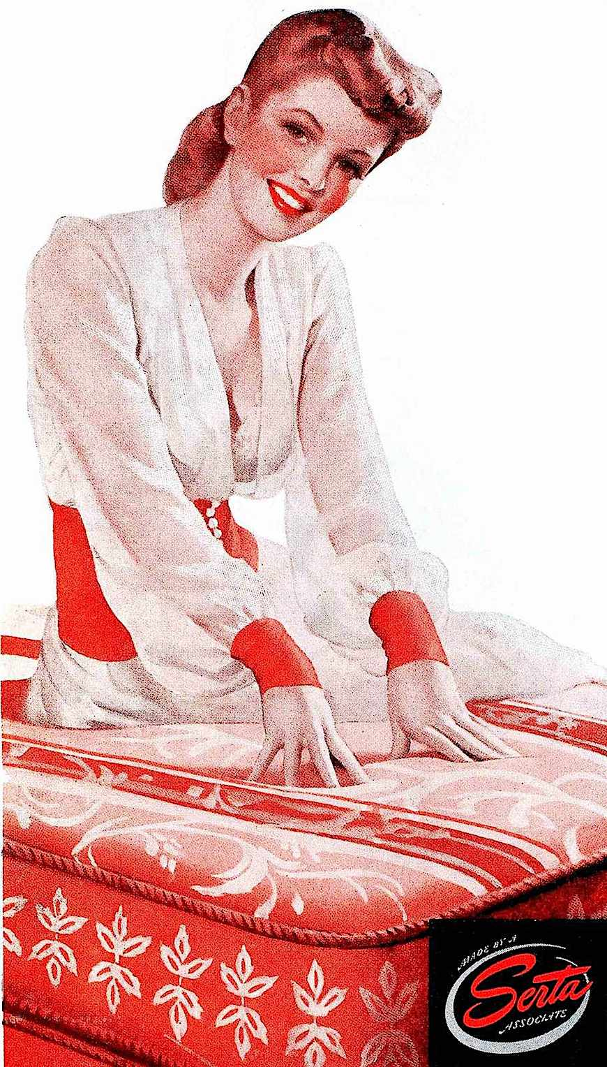 a 1943 advertising illustration in red for Serta mattresses