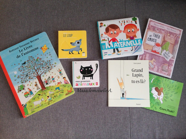 Le livre de l'automne - Le loup - Mes premiers animaux - La maternelle - Théo et Croco aux objets trouvés - Grand lapin, tu es là ? - Cours, Youki !