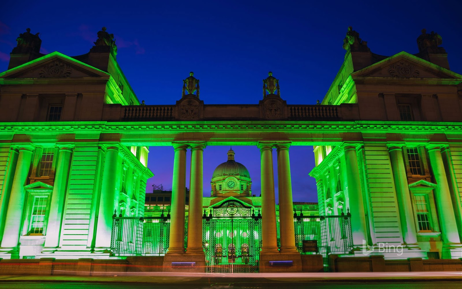 Department of the Taoiseach lit up for the St Patrick's Festival in Dublin, Ireland © David Soanes Photography/Getty Images