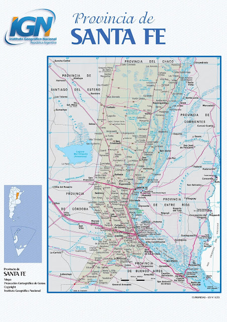 Mapa da província de Santa Fé - Argentina