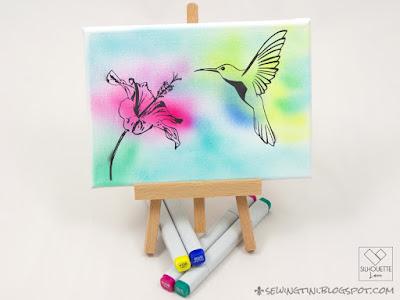 Airbrush Kolibri auf Leinwand oder Schablonieren mit dem Plotter