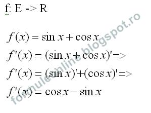calculati derivata functiei