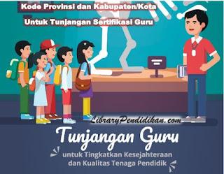Kode Provinsi dan Kabupaten/Kota Seluruh Indonesia Untuk Tunjnagan Profesi Sertifikasi Guru Dalam Jabatan - TPG