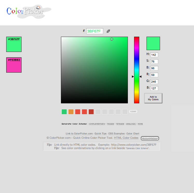 5 resources for making picking colors for your color for Color picker from web page