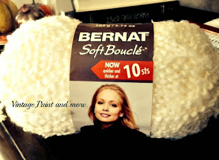 Vintage, Paint and more... Bernat soft boucle yarn in cream used to make a yarn pom pom winter wreath