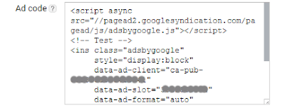 Generated AdSense HTML ad codes