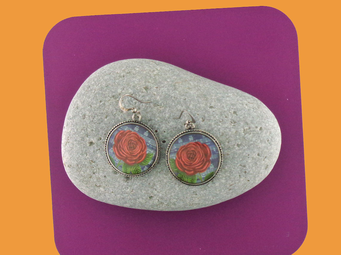 LAVISHY vintage style handmade earrings feature red rose print