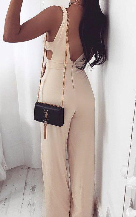 beautiful jumpsuit + bag