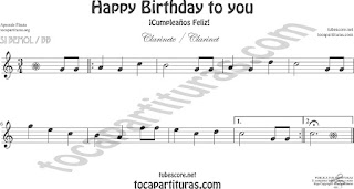 Clarinete Partitura de Happy birthday to you (Cumpleaños Feliz) Sheet Music for Clarinet Music Score