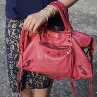 blue lace pencil skirt, sorbet pink Balenciaga city bag  | awayfromtheblue