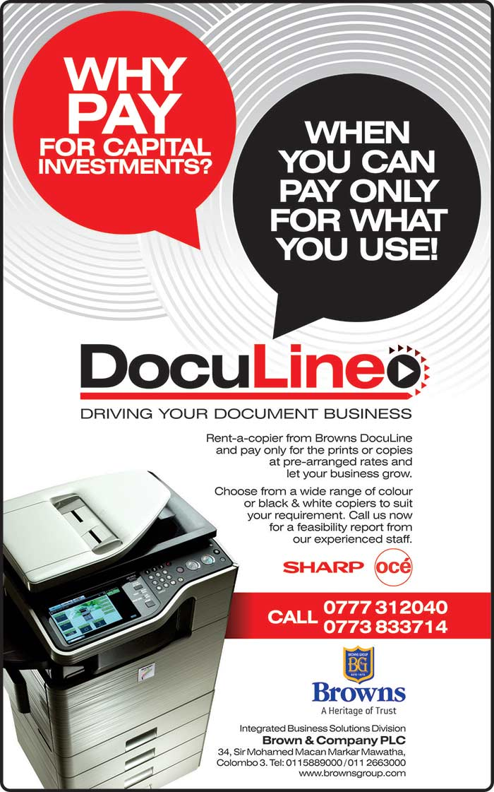 Rent-a-copier from Browns Doculine and pay only for the prints or copies at pre-arranged rates.