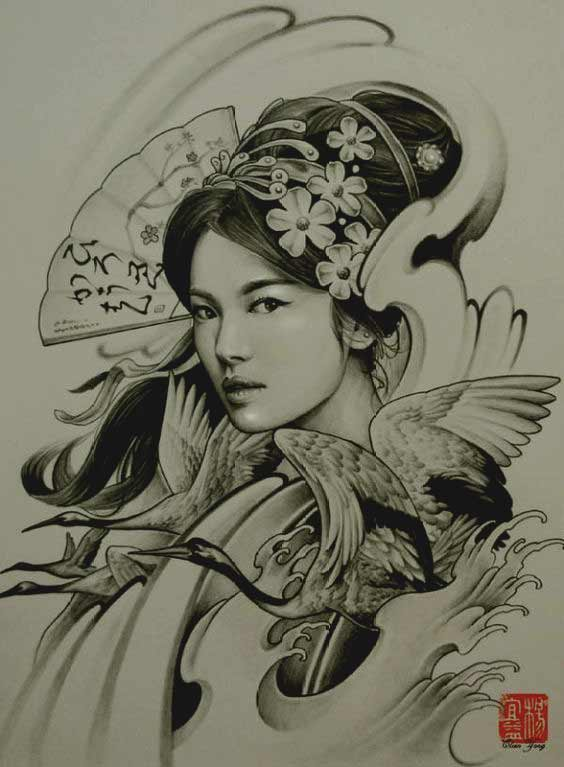 Traditional beautiful geisha tattoos designs pictures