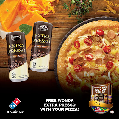 Domino's 2 Pizza Deals with Extra Cheese Free WONDA Coffee