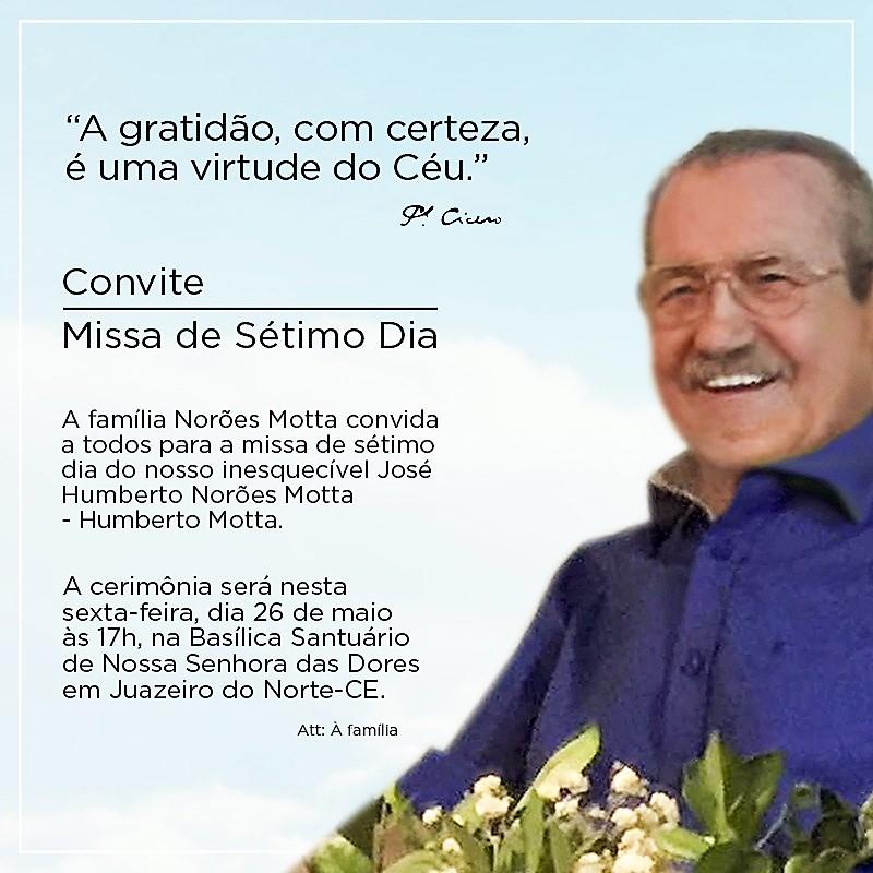 Portal De Juazeiro Missa Do Sétimo Dia De Humberto Motta