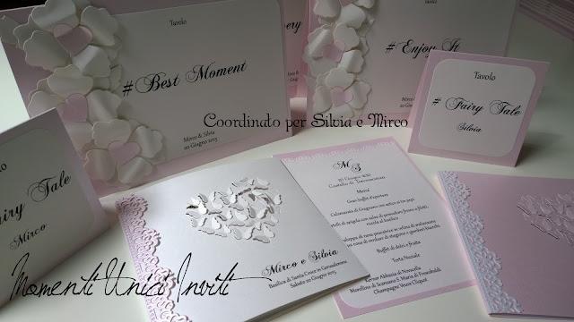 10 Il coordinato realizzato per Silvia e MircoColore Bianco Colore Rosa Colore Rosa Cipria Colore Rosa Pesca Partecipazioni intagliate Partecipazioni Pizzo pizzo Tema cuori Tema Farfalle