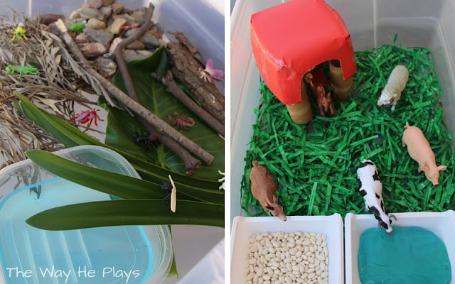 Small world play in sensory table