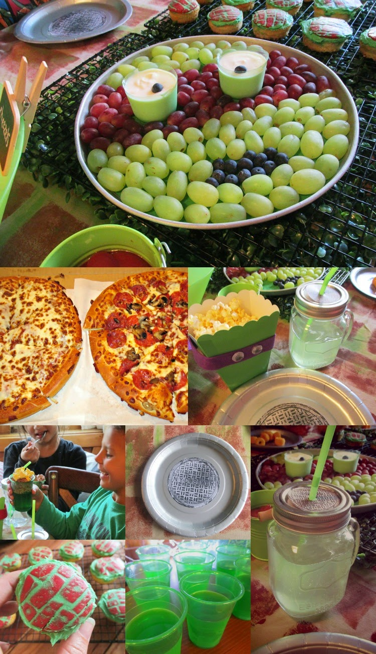 TMNT Party food - including ninja turtle fruit platter