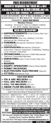 Oil & Gas Aramco project jobs in Saudi Arabia