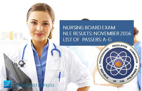 A-G List of NLE Passers November 2016 nursing board exam