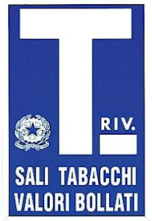 Sign indicating a tobacconist - they usually also sell bus tickets