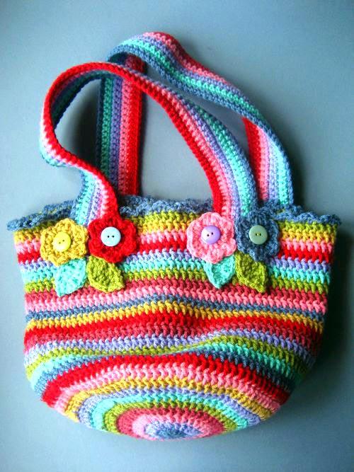 Tejer ganchillo crochet bolso multicolor tejido en - Bolso ganchillo paso a paso ...