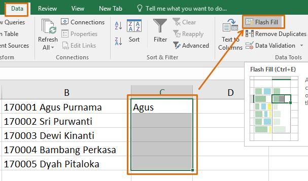 Tombol Fill Flash Excel