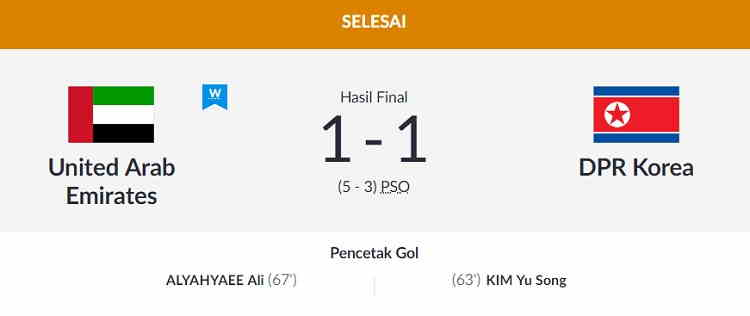 Hasil UAE vs Korea Utara Skor Akhir (5) 1-1 (3) [Perempat Final Asian Games 2018]