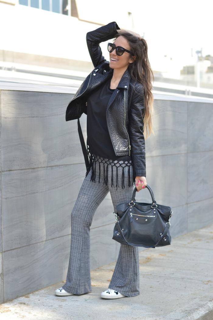 pantaloni zampa maglia