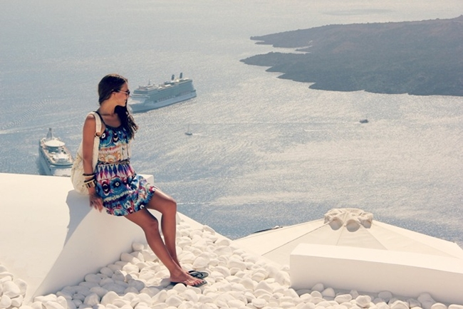 fashionable trendy outfits and dresses for Santorini holiday