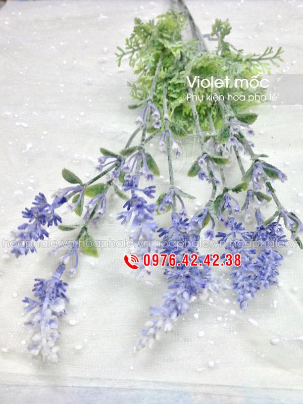 Cụm violet mốc | Phụ kiện hoa pha lê