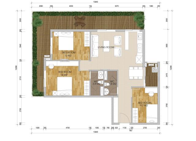 mặt bằng thiết kế chung cư the two residence