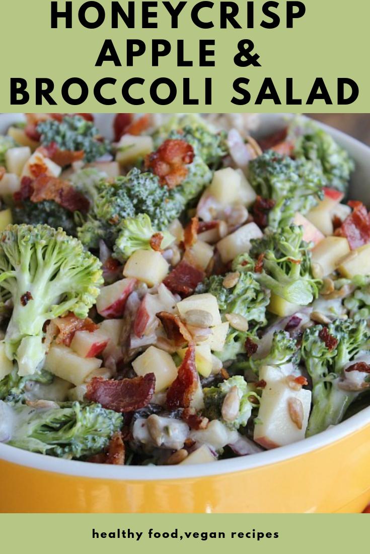 Honeycrisp Apple & Broccoli Salad #vegan #salad #healthyrecipes
