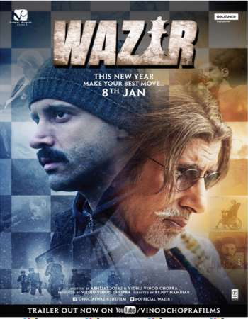 Poster Of Wazir 2016 Hindi 300MB DVDRip 480p ESubs Free Download Watch Online