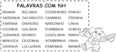 Lista de palavras que têm NH