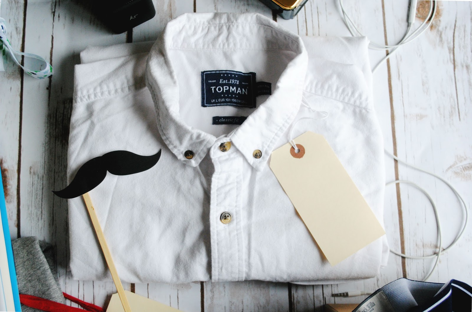 topman shirt white mustache apple headphones