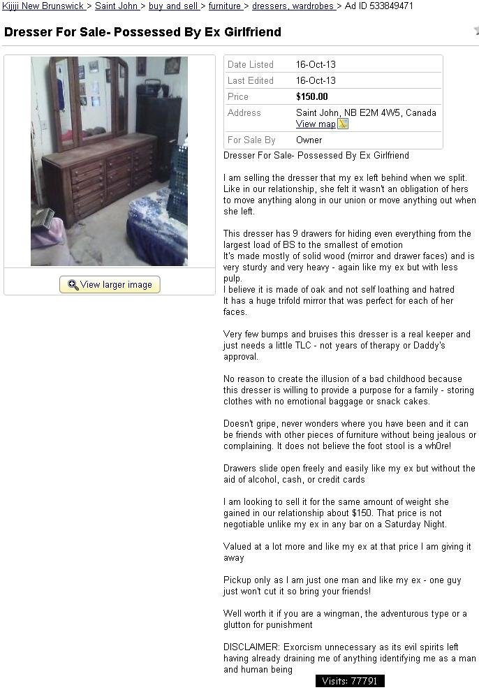 Dresser possessed by spirit of ex-girlfriend (718) | You Suck at