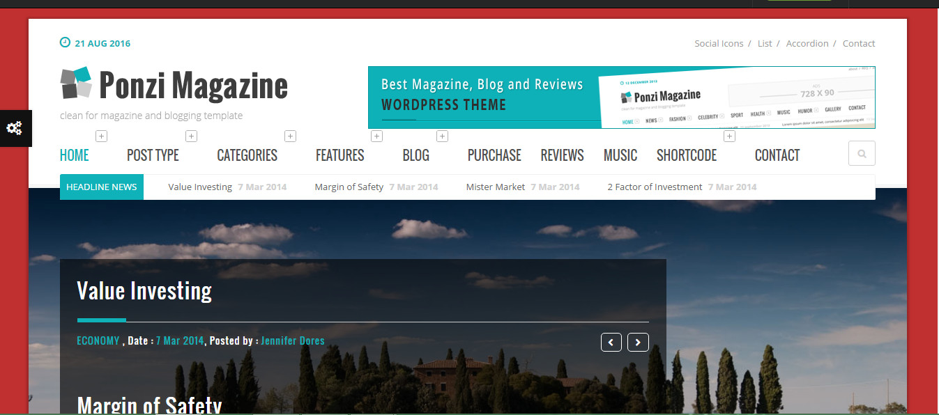 Ponzi wordpress Magazine personal blog theme
