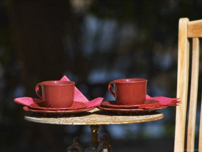 Table with Coffee and Teak Deck Garden Chair, Clos Des Iles, Le Brusc, Var, Cote d'Azur, France