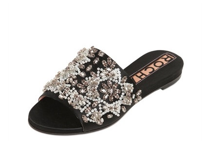 rochas black embellished flat slides