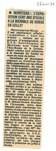 Article du Courrier- Le Journal de Saône-et-Loire du 28 juin 19766