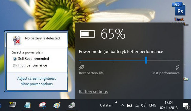 "Muncul pesan error ""no battery is detected"" di icon baterai laptop."