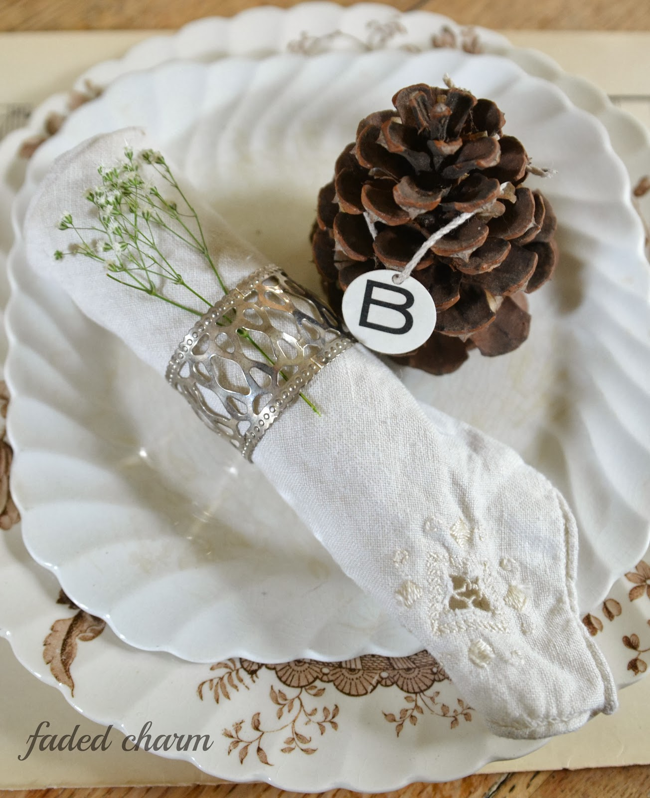 Faded Charm: ~Pinecone Placecards~