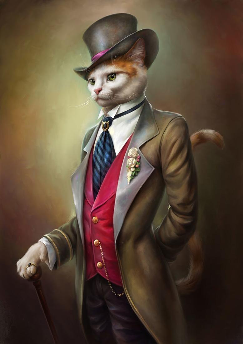 02-Oscar-the-Gentle-Cat-Eldar-Zakirov-Digital-Art-Illustrations-of-Smartly-Dressed-Cats-www-designstack-co