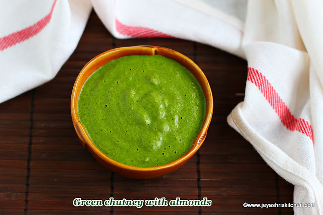 Green chutney with almonds