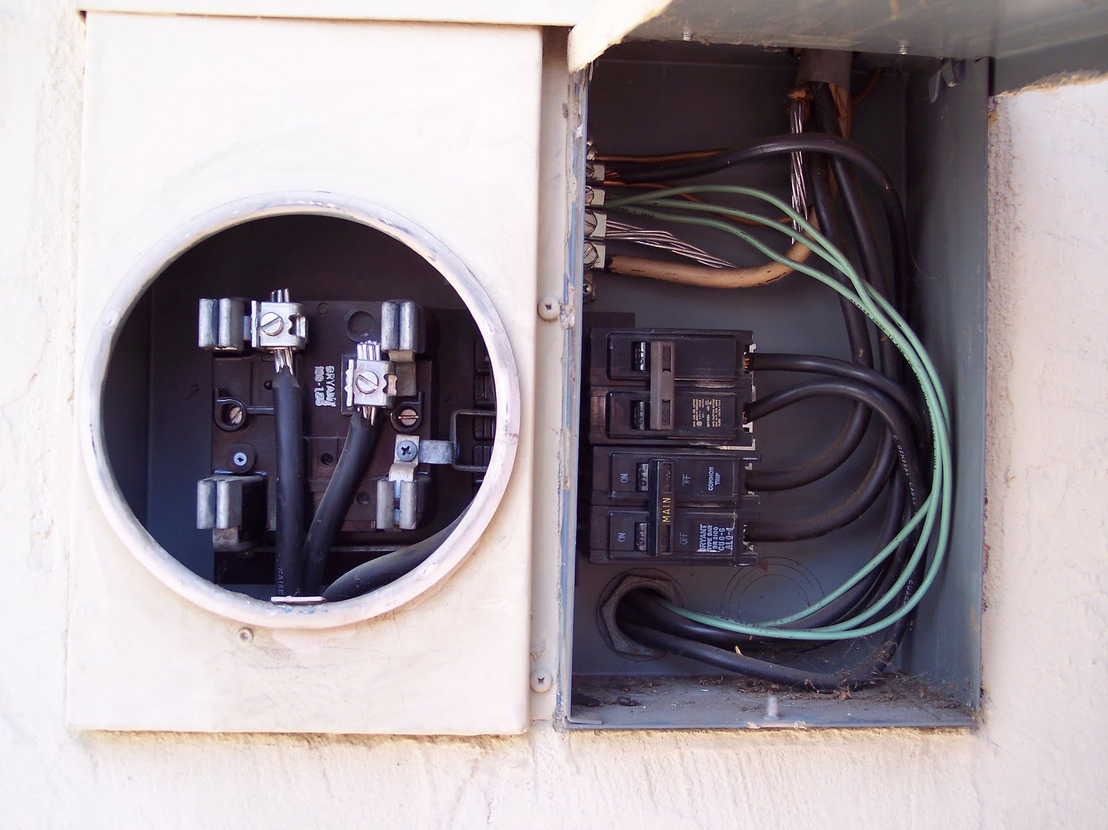 electric meter bryant ms 125 needs the load socket and bus bar replaced aluminum wires from main [ 1600 x 1198 Pixel ]